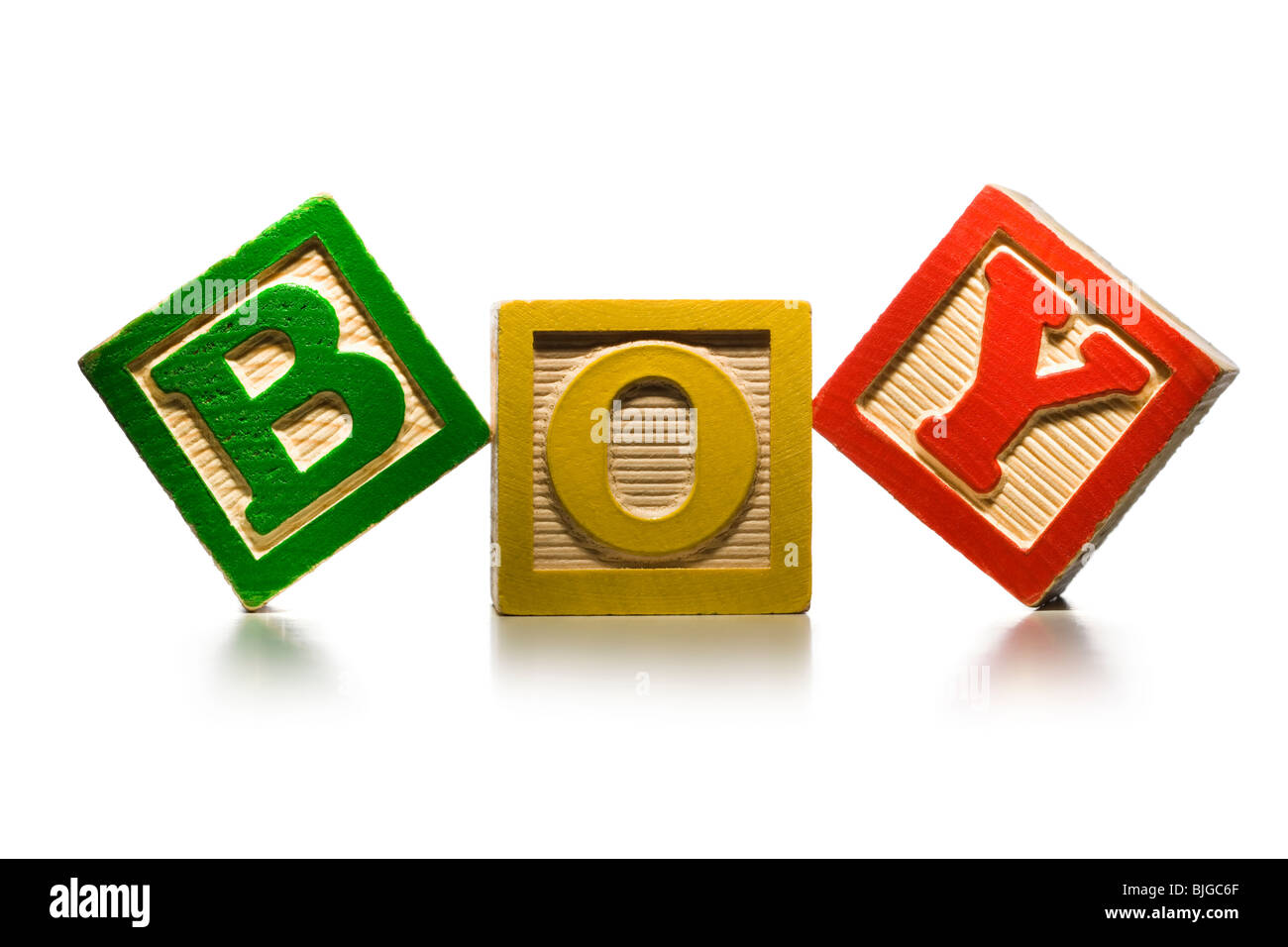 nursery blocks spelling 'boy' - Stock Image