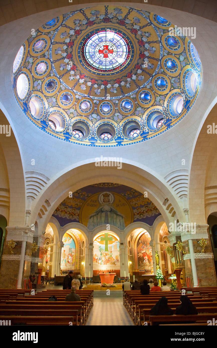 Cupola of Rosary Basilica, Lourdes - Stock Image