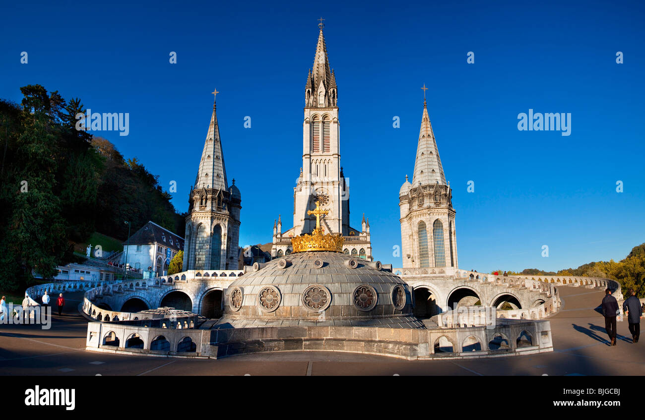 Basilica of the immaculate conception, Lourdes - Stock Image