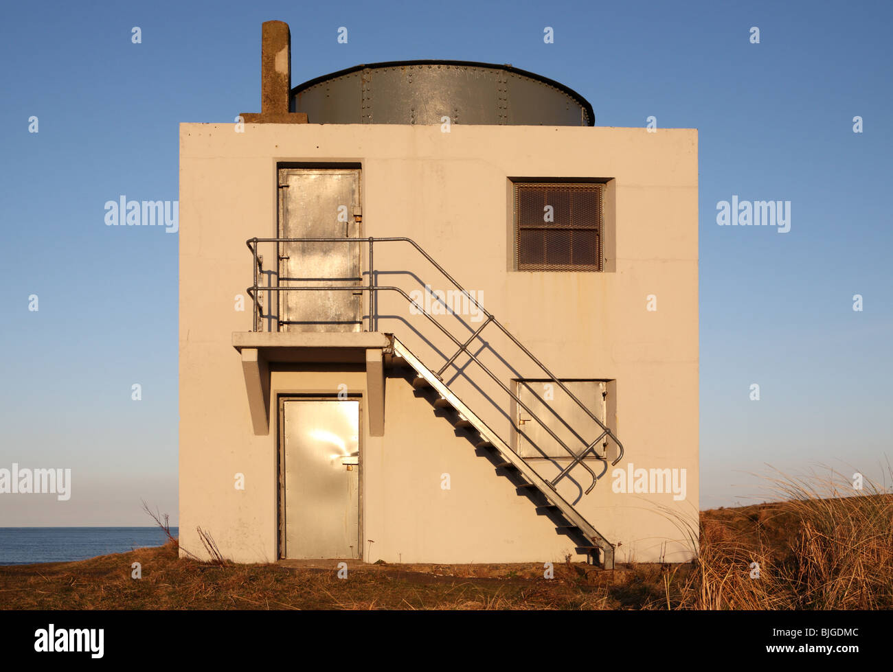 A rangefinder tower at the Blyth battery , Northumberland, England, UK - Stock Image