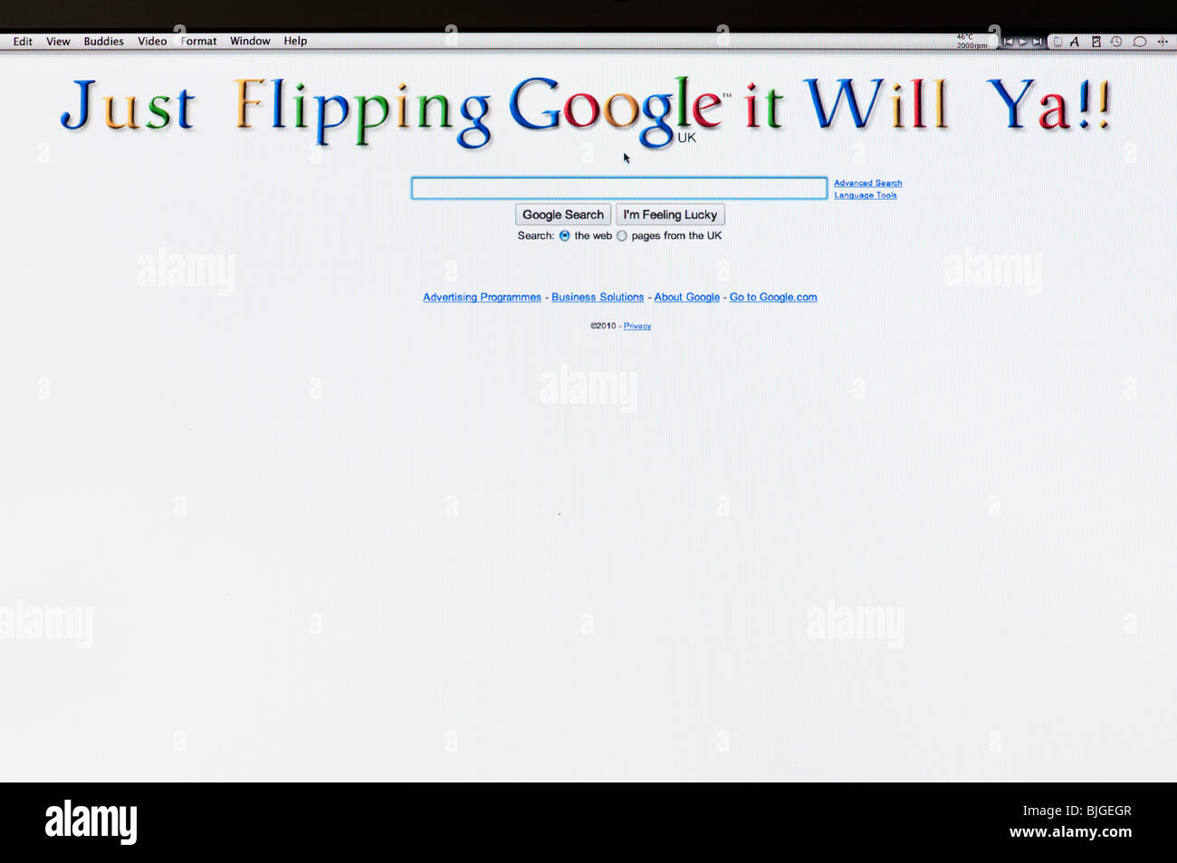 Just flipping google it will ya. Google digitally altered home page - Stock Image