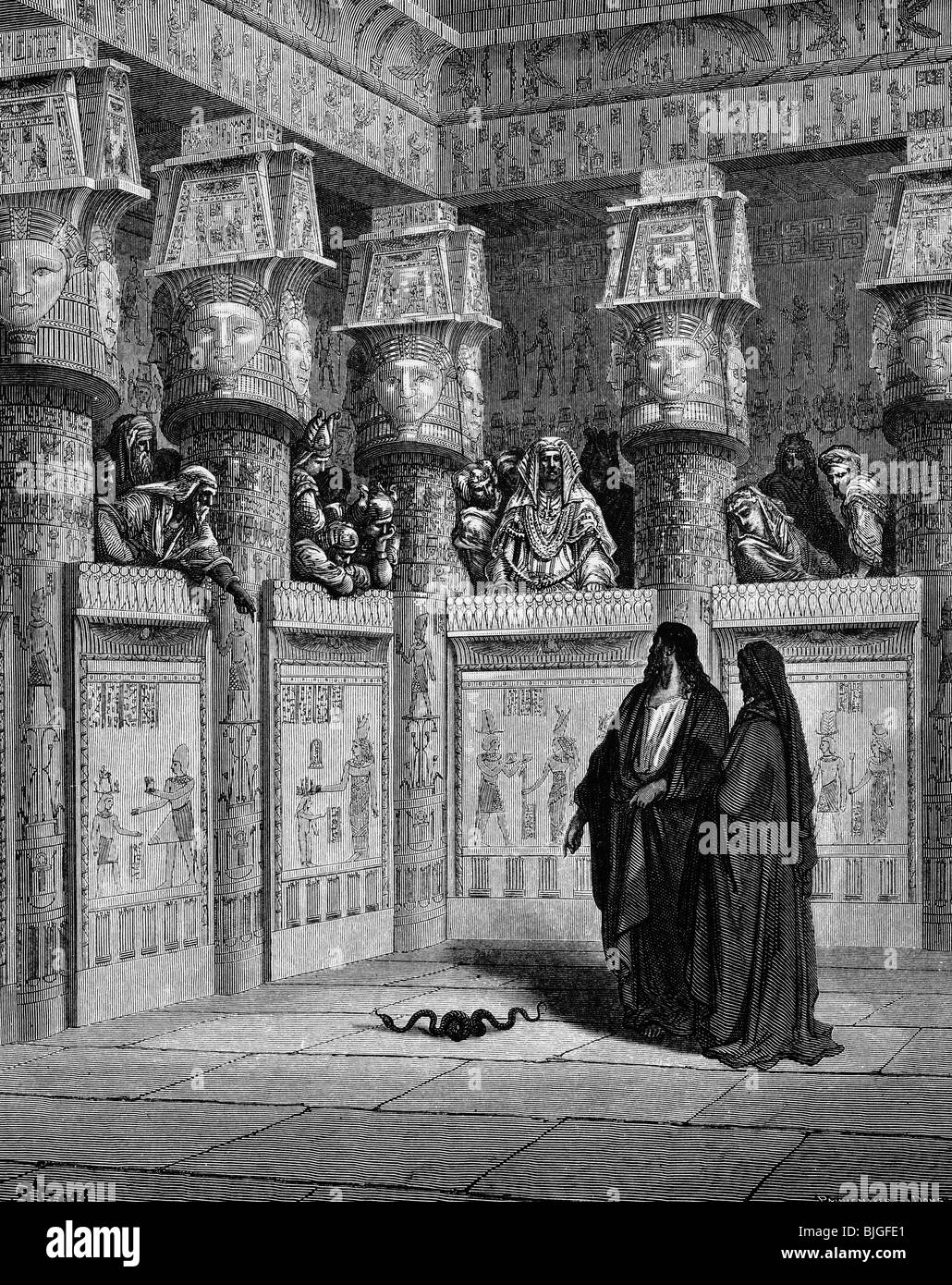 "Moses, Hebrew prophet, ""Moses and Aaron before Pharaoh"", wood engraving by Gustave Doré, ""The Bible"", circa 1866, Stock Photo"