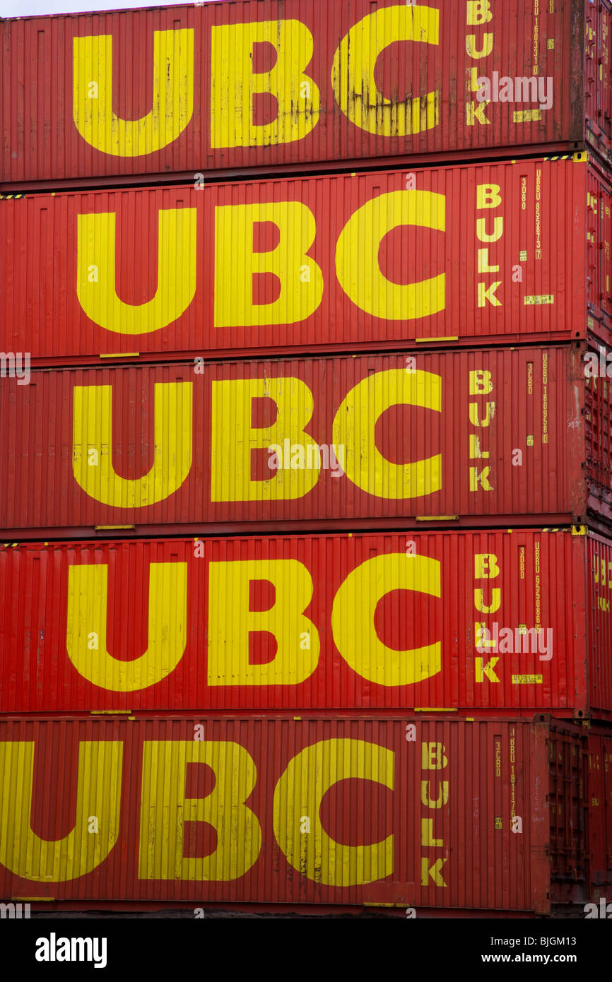 Rows of UBC Stacked containers at Bulmers Container Yard, Middlesbrough, Teesside, North Yorkshire, UK - Stock Image