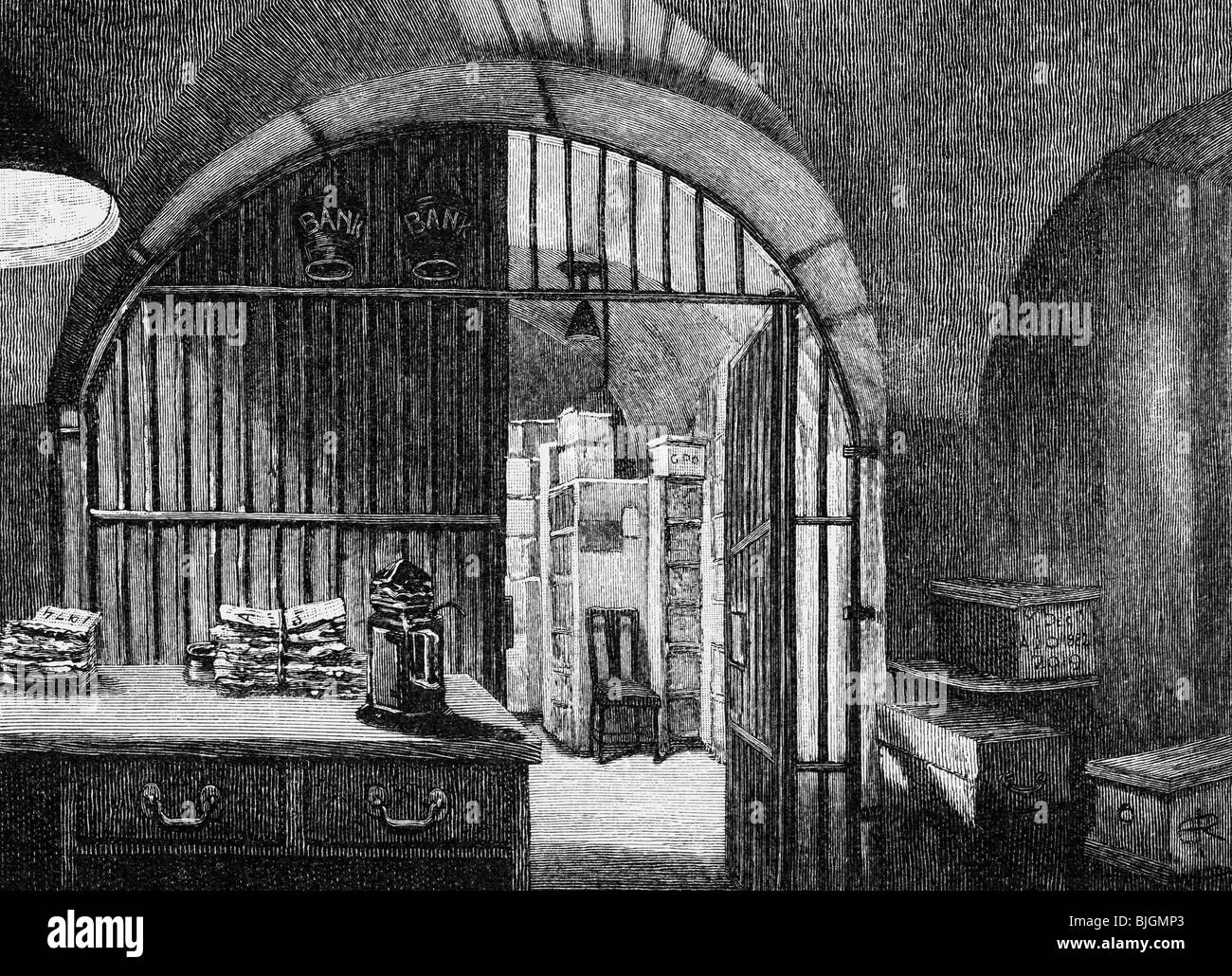 money / finance, banks, Bank of England, Threadneedle Street, London, interior view, library of banknotes, wood - Stock Image