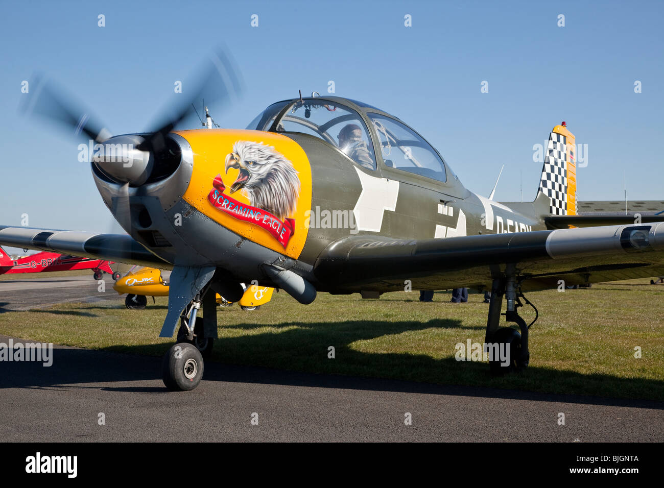 Focke-Wulf FWP-149D registered D-EARY, at Breighton - Stock Image