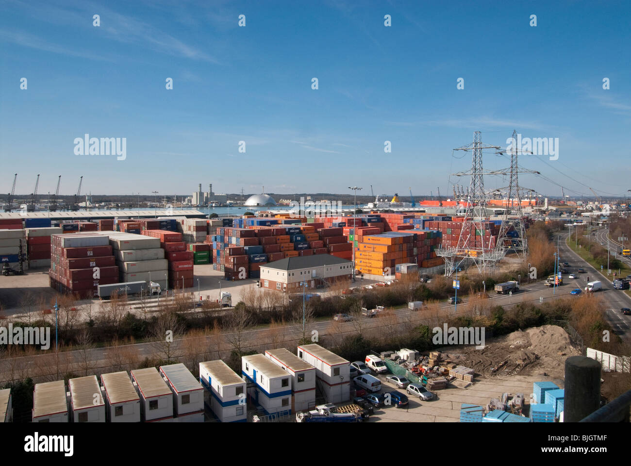 shipping containers stacked in Southampton Container Port Stock Photo