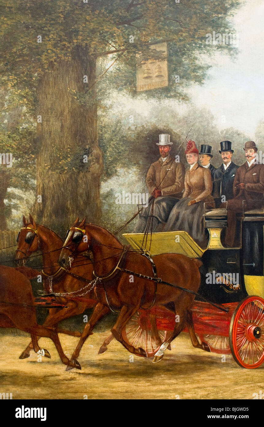 Detail of 19th century oil painting of a coaching family in country near Windsor Berkshire - Stock Image