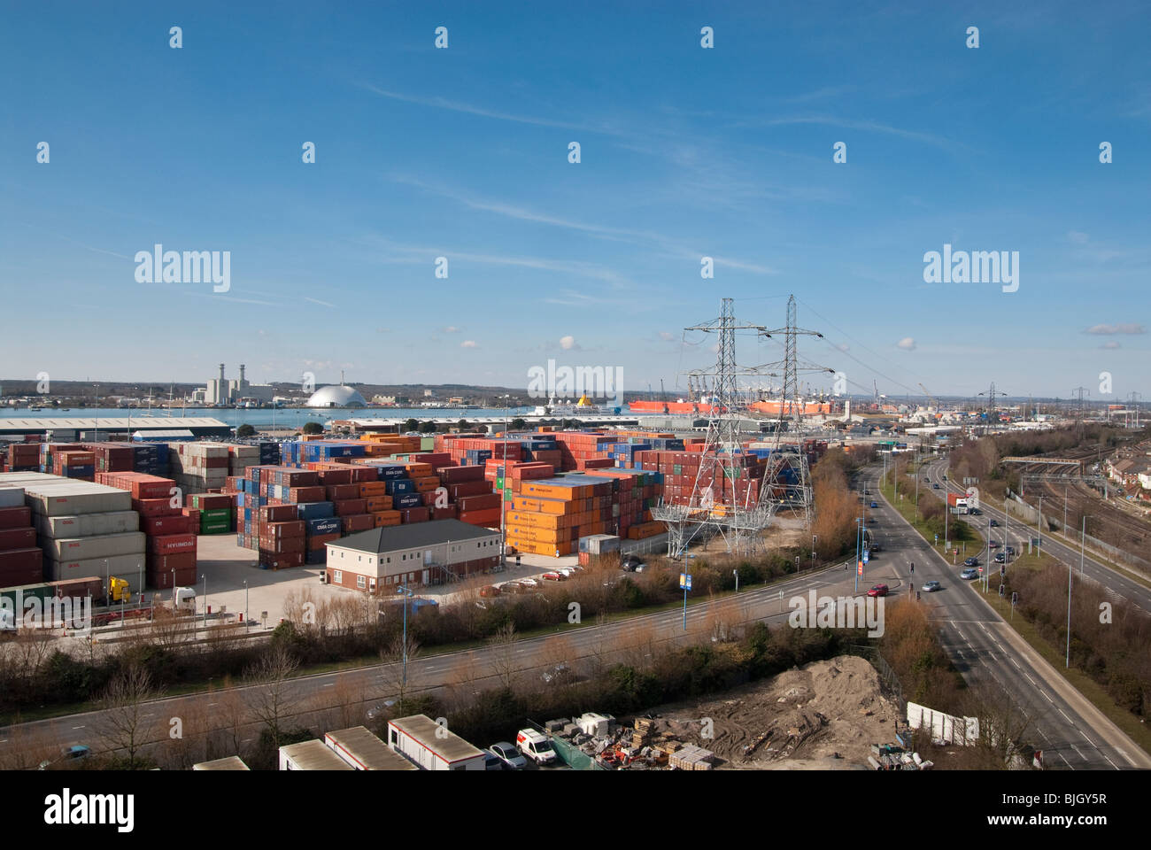 shipping containers stacked in Southampton Container Port - Stock Image