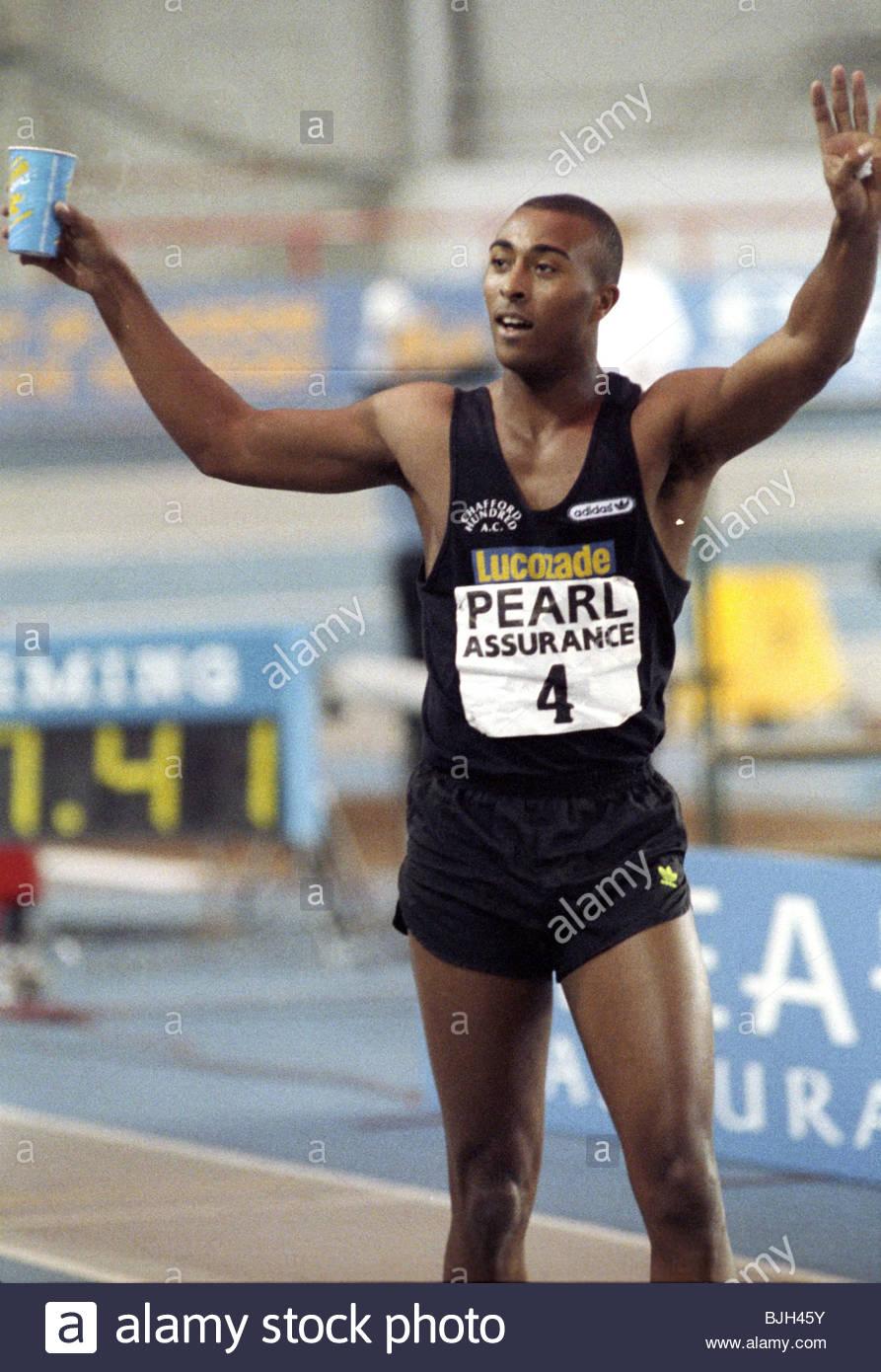 08/02/92 PEARL ASSURANCE GAMES KELVIN HALL - GLASGOW Colin Jackson - Stock Image
