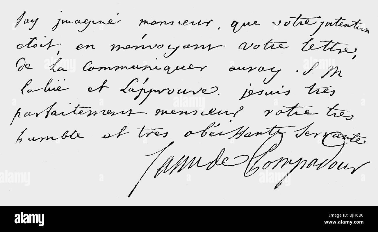 Pompadour, Jeanne Antoinette Poisson, Marquise de, 29.12. 1721 - 15.4.1764, handwriting, billet, , Additional-Rights - Stock Image