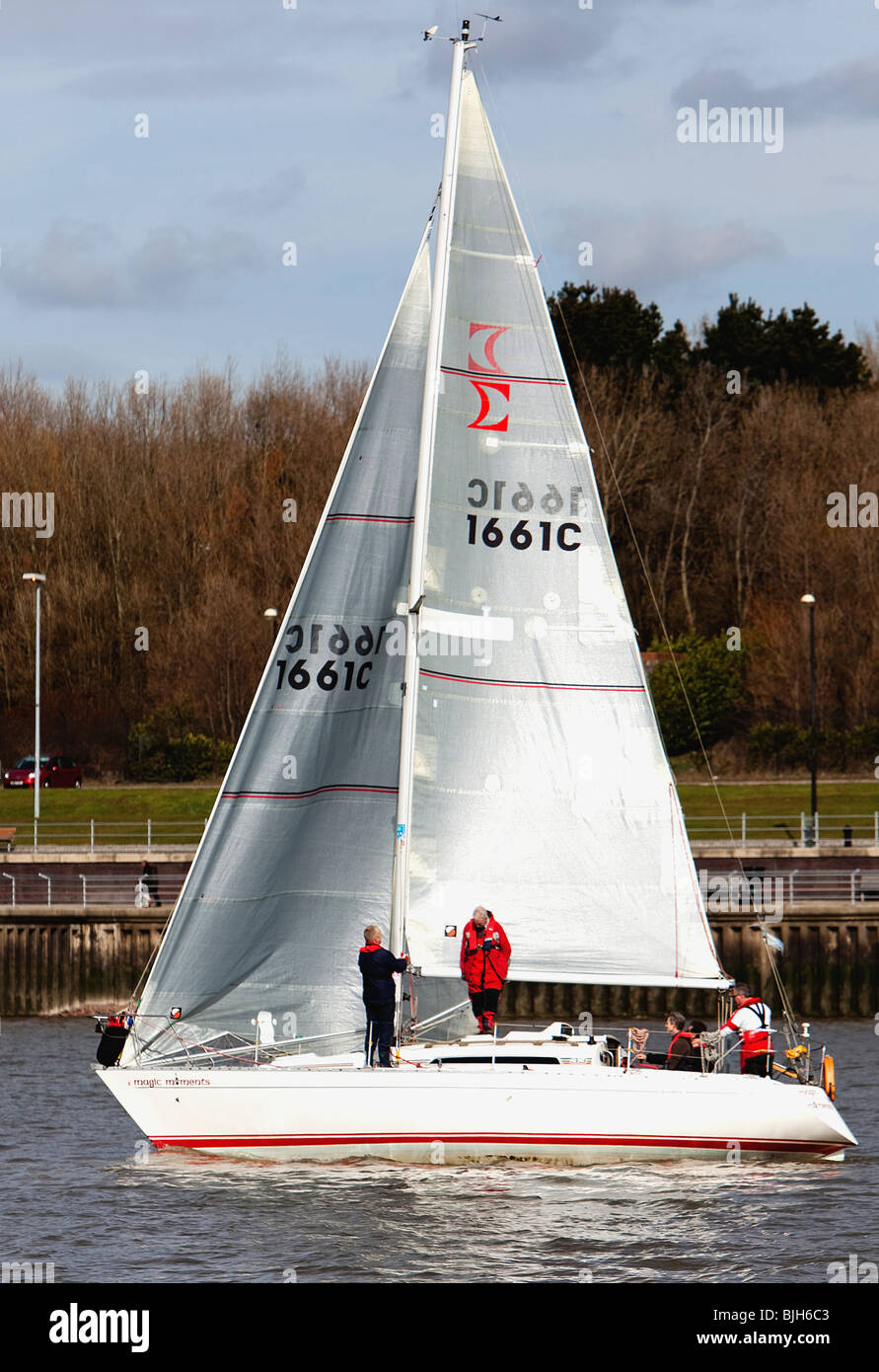 Sailing Yacht Sigma 33 River Mersey Yacht Race Liverpool Yacht Club Race for Sports relief - Stock Image