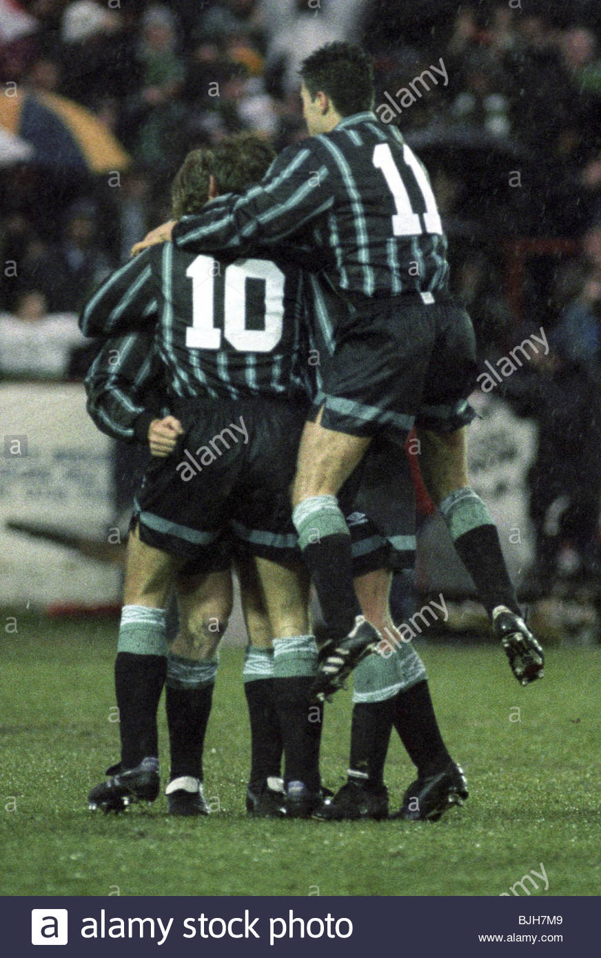 23/01/93 SCOTTISH PREMIER DIVISION AIRDRIE v CELTIC (0-1) BROOMFIELD - AIRDRIE Tommy Coyne (10) is congratulated - Stock Image