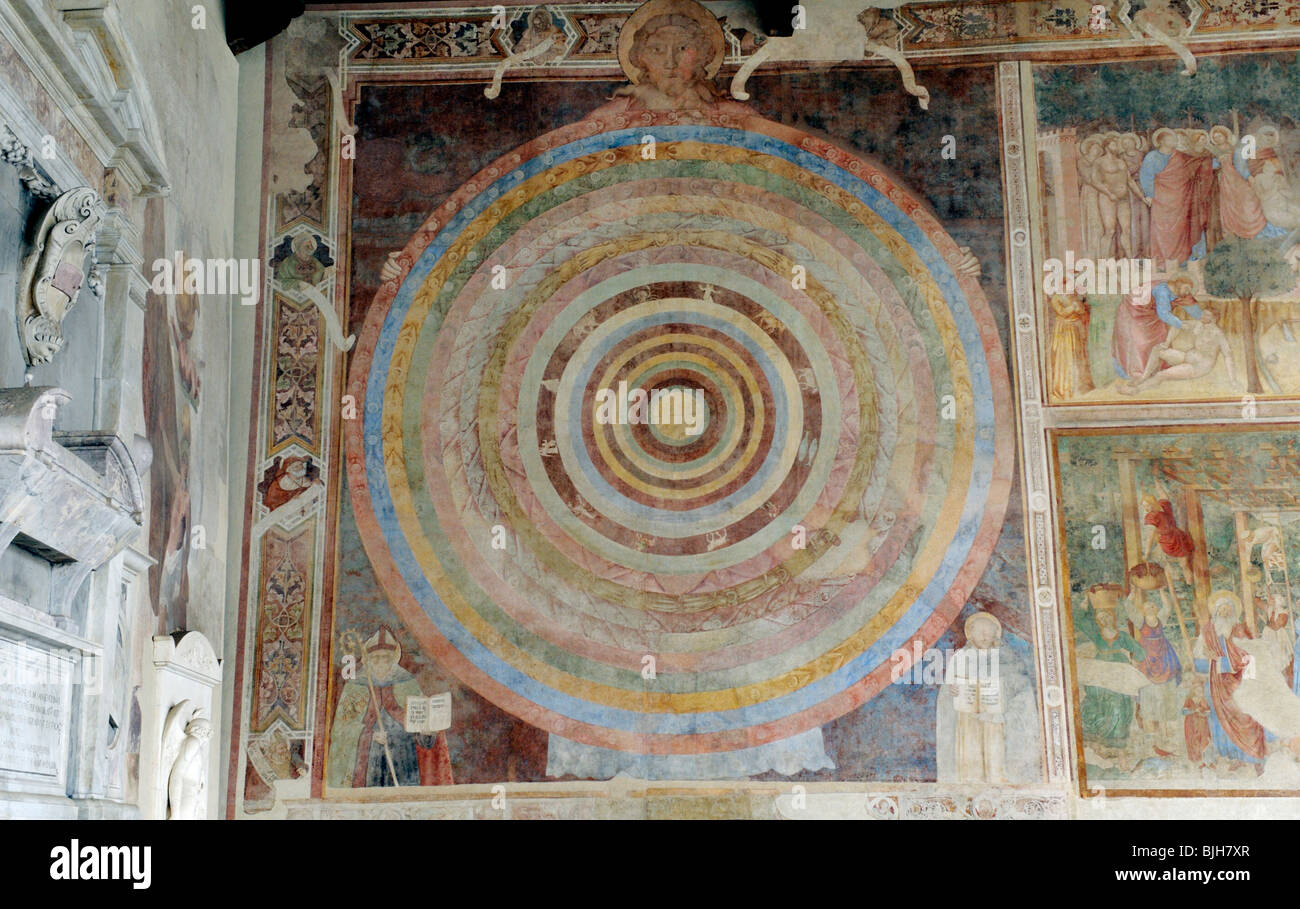 Medieval astrological zodiac wheel mural inside the Camposanto cemetery of the Campo dei Miracoli, Pisa, Tuscany, - Stock Image