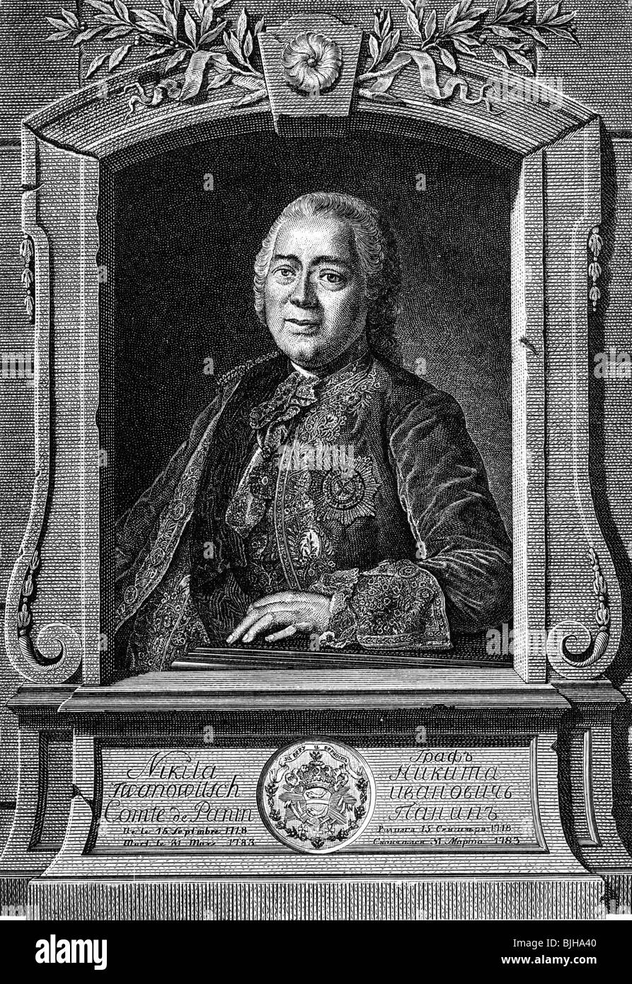 Panin, Nikita Ivanovich, 26.9.1718 - 20.3.1783, Russian politician, Minister of Foreign Affairs 1764 - 1780, half - Stock Image
