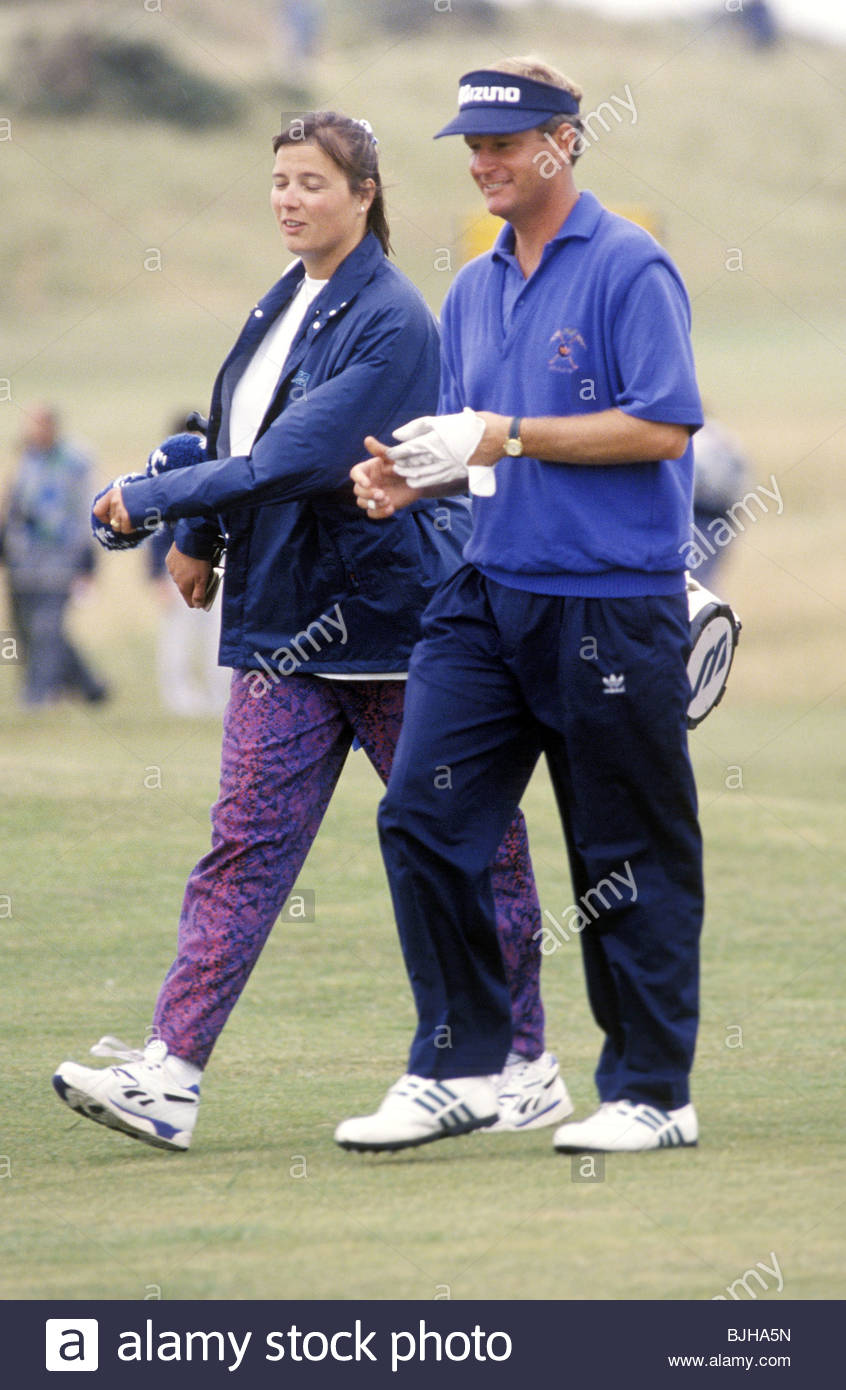1992/1993 Golfer Sandy Lyle with his wife Yolande Lyle - Stock Image