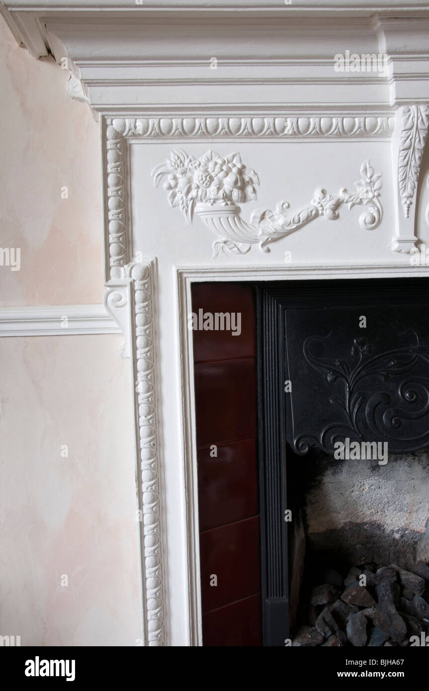 Detail of Victorian cast-iron fireplace Stock Photo