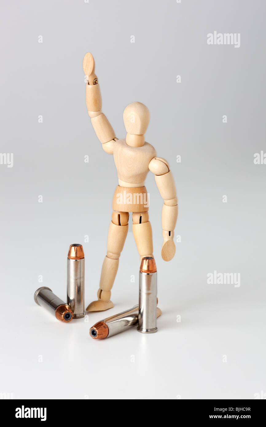 mannequin with bullets - Stock Image