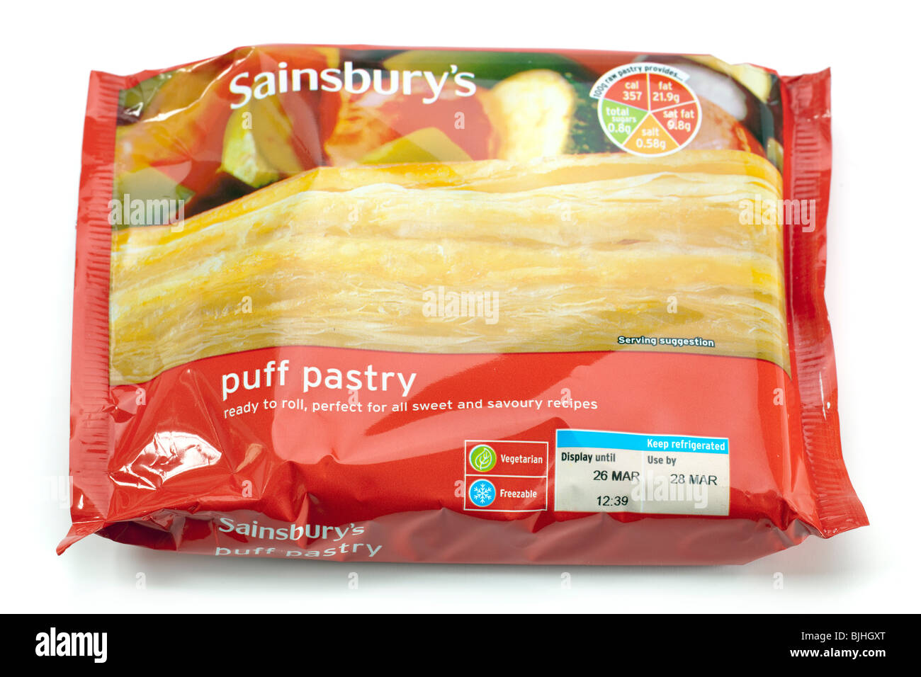 Packet of Sainsbury's ready to roll Puff Pastry - Stock Image