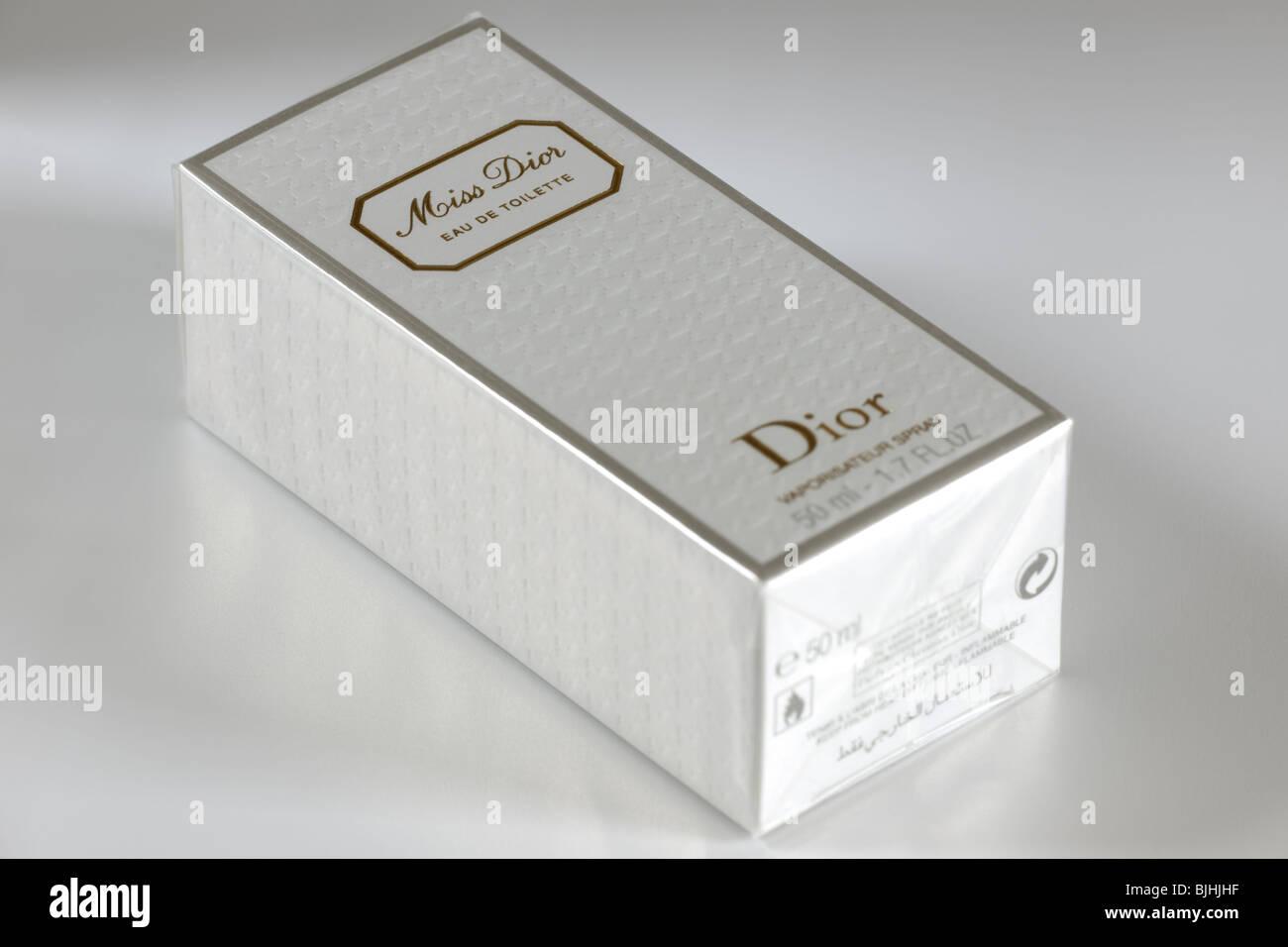 Boxed 50ml bottle of Miss Dior Eau de toilette vapour spray perfume - Stock Image