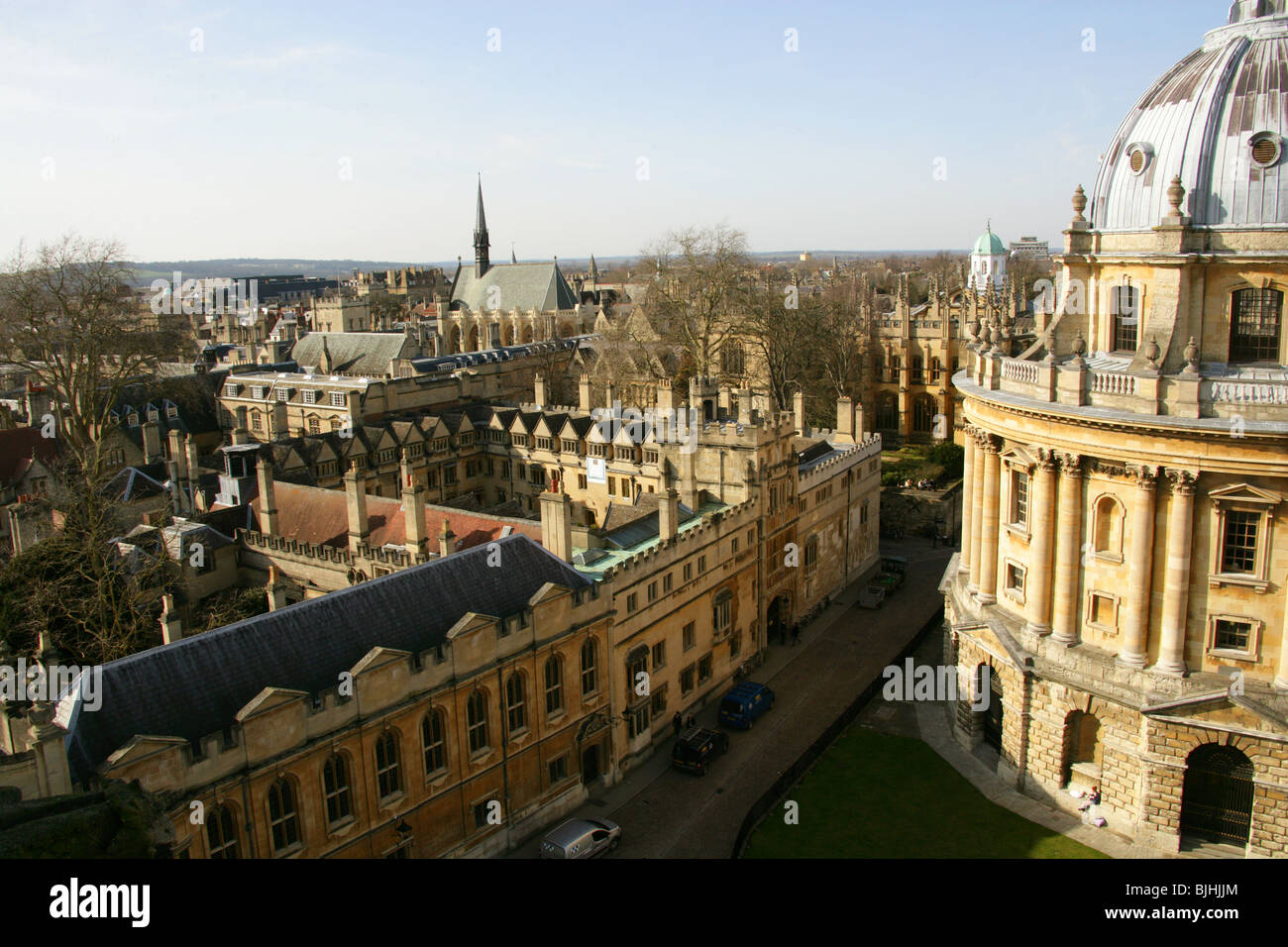 Brasenose College, Exeter College and Chapel, and the Radcliffe Camera, Oxford University, Oxford, Oxfordshire, Stock Photo