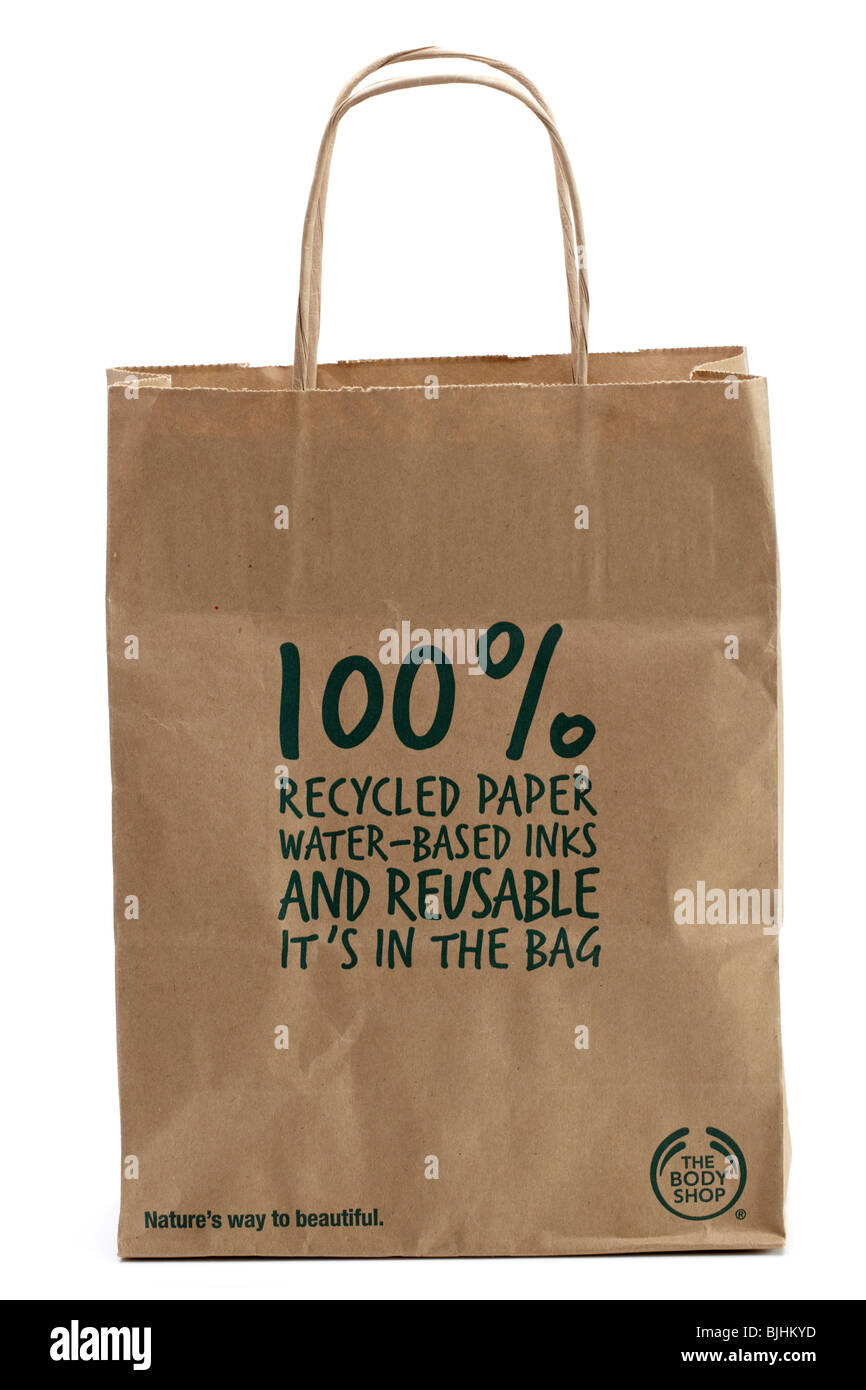 'The Body Shop 'reusable Brown paper bag 100% recycled paper - Stock Image