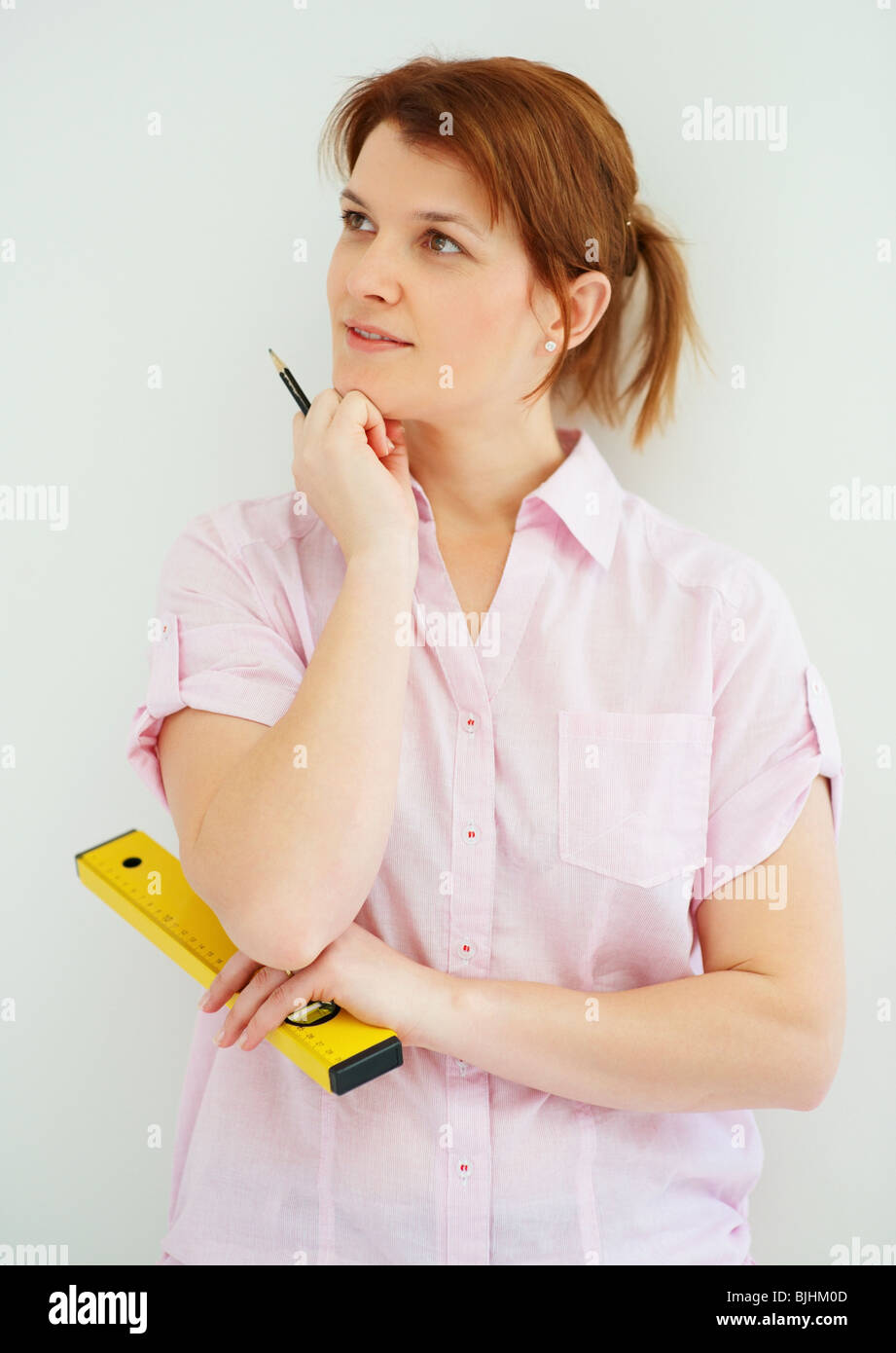 Female carpenter - Stock Image