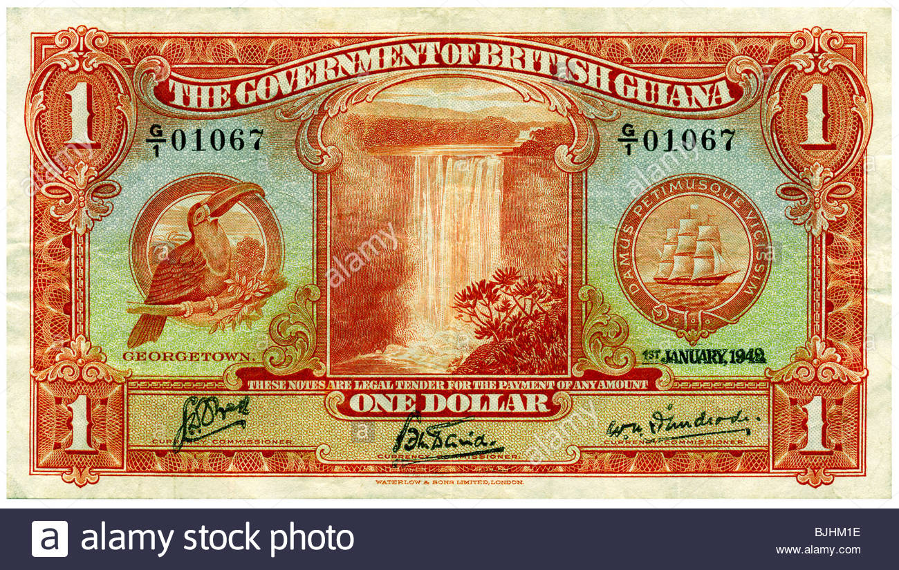 Government of British Guiana Africa 1942 One Dollar Bill Georgetown Toucan watermark Waterfall - Stock Image