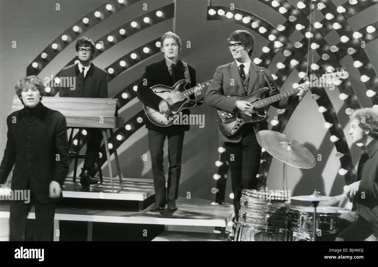 MANFRED MANN - UK group on Top of the Pops in 1964 with Mike d'Abo - see Description below for lineup - Stock Image