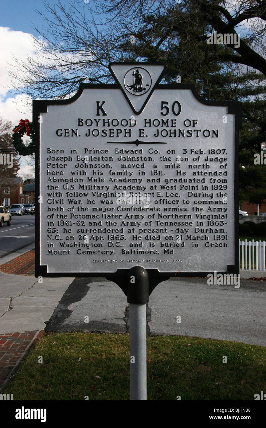 Boyhood Home of Gen. Joseph E. Johnston Born in Prince Edward Co. on 3 Feb. 1807, Joseph Eggleston Johnston - Stock Image