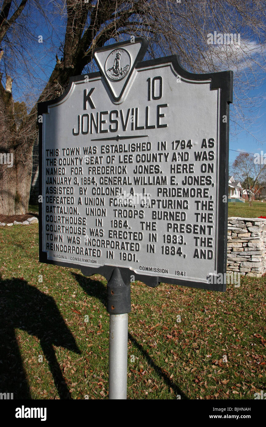 JonesvilleThis town was established in 1794 as the county seat of Lee County and was named for Frederick Jones - Stock Image