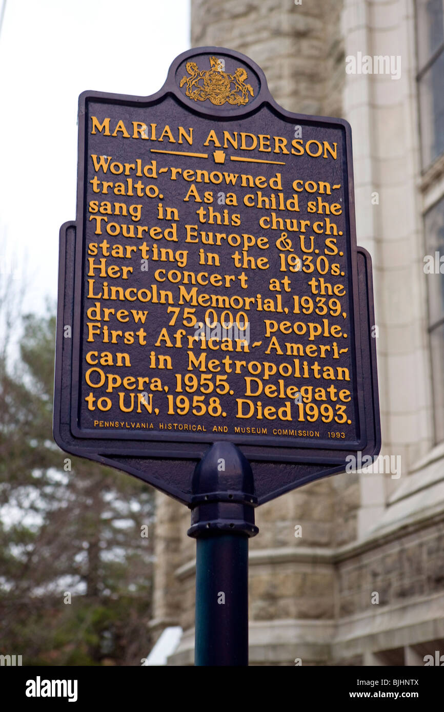 Marian Anderson World Renowned Contralto As A Child She Sang In This Church