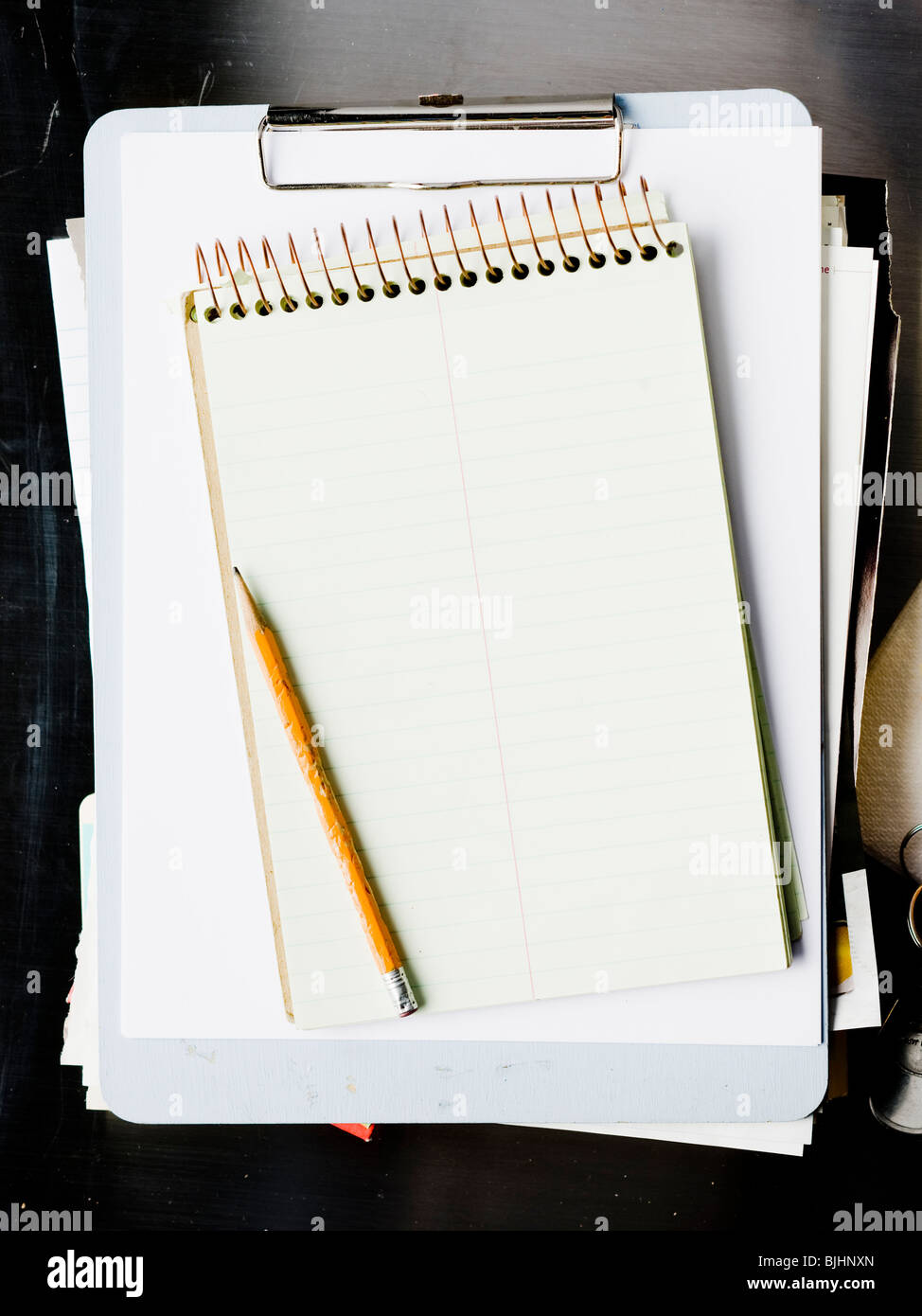notebook and files - Stock Image