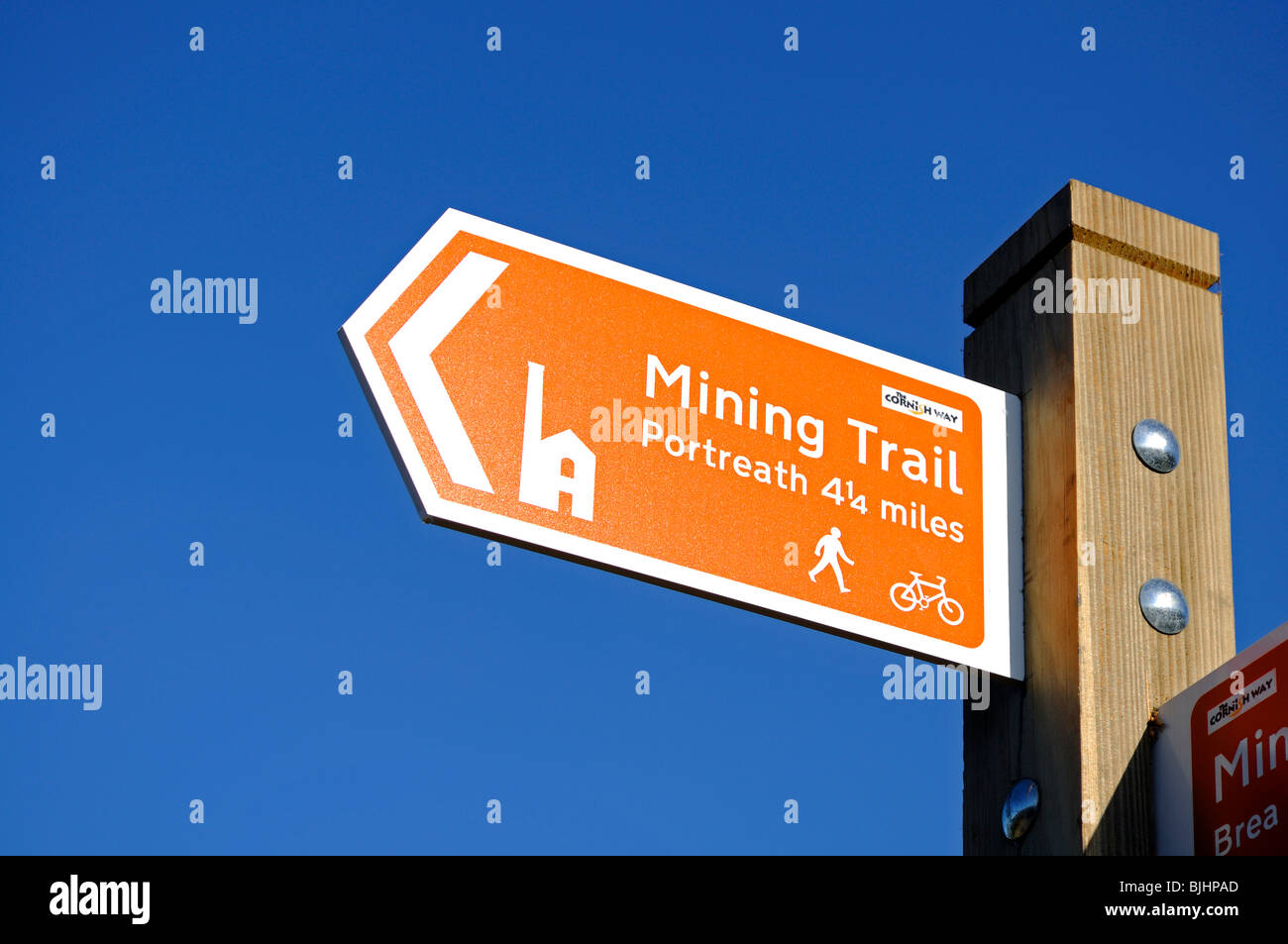 a signpost for the ' tin mining trail ' in redruth, cornwall, uk - Stock Image