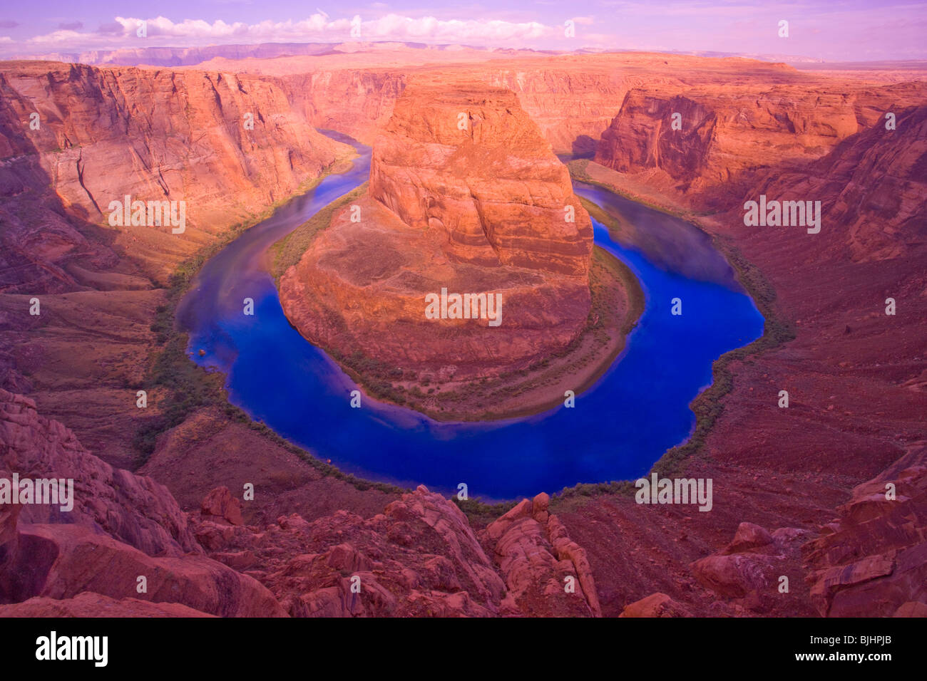 Horseshoe Bend of the Colorado River, Glen Canyon National Recreation Area, Arizona, between Grand Canyon and Lake - Stock Image