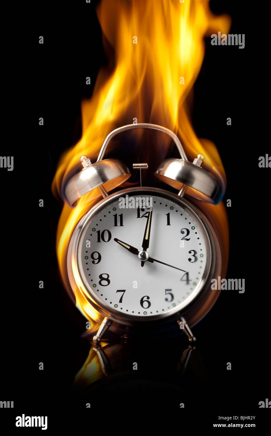 alarm clock on fire Stock Photo: 28665475