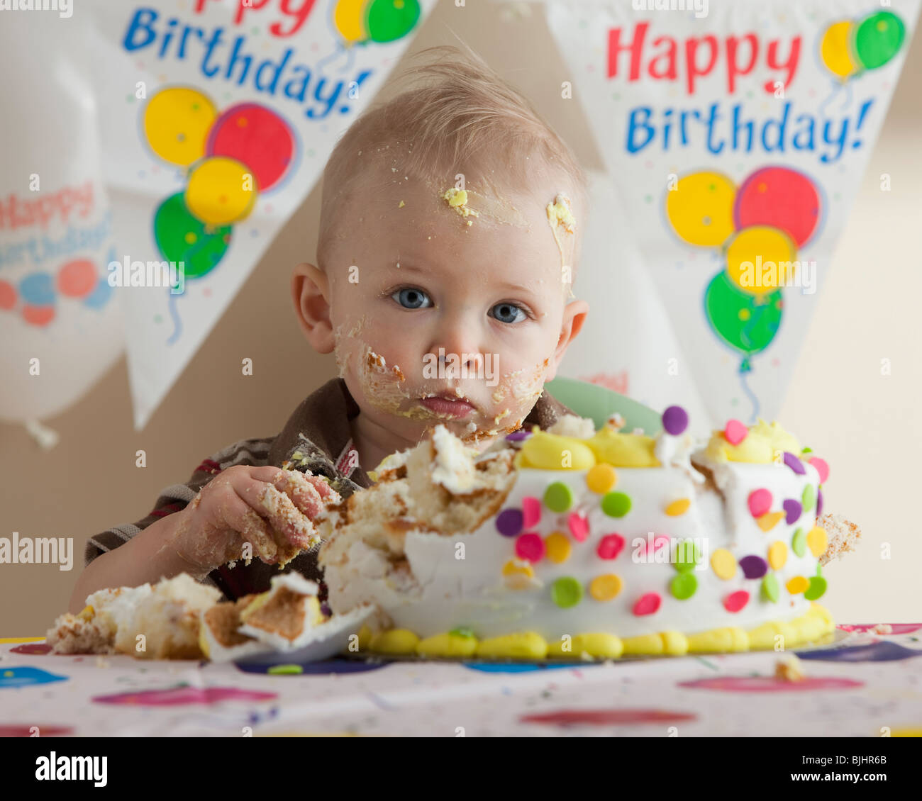 Groovy Baby Eating Birthday Cake Stock Photo 28665571 Alamy Funny Birthday Cards Online Inifofree Goldxyz