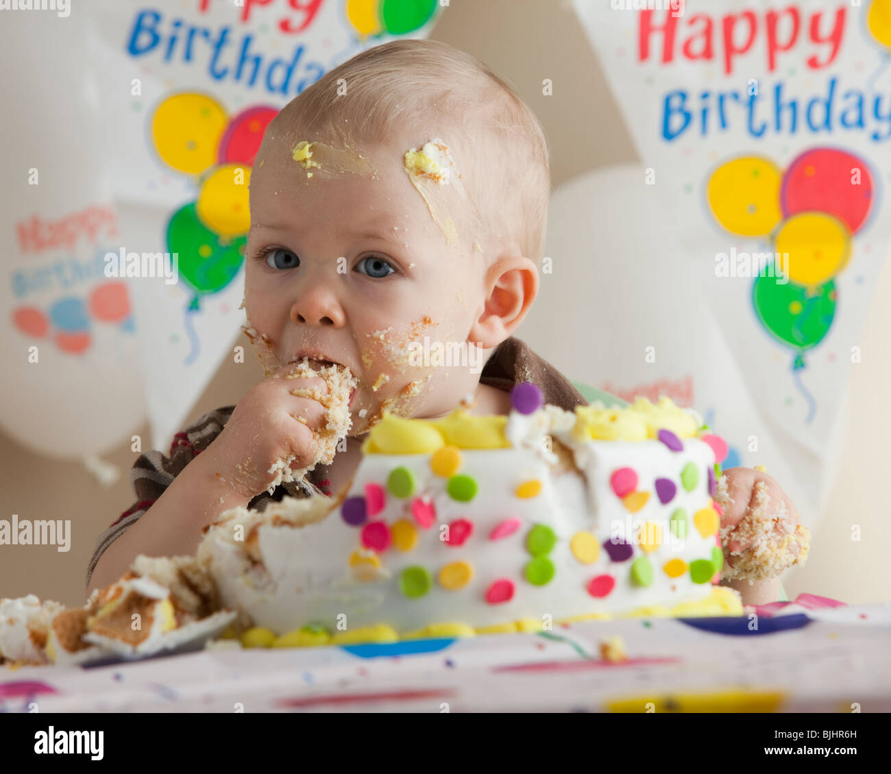 Marvelous Baby Eating Birthday Cake Stock Photo 28665577 Alamy Funny Birthday Cards Online Inifofree Goldxyz