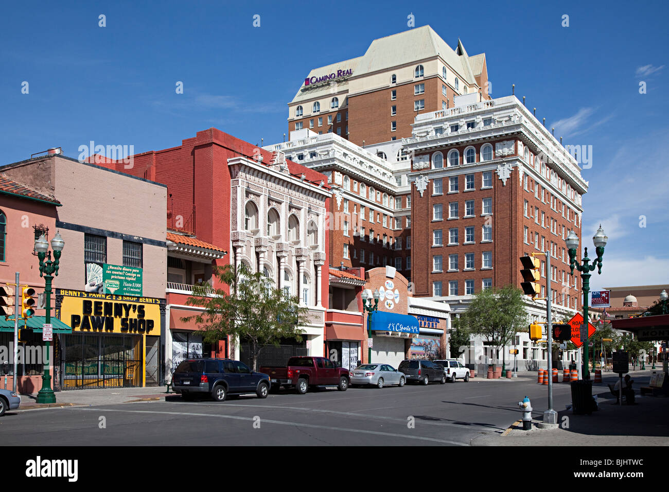 Street with pawn shop and hotel El Paso Texas USA - Stock Image