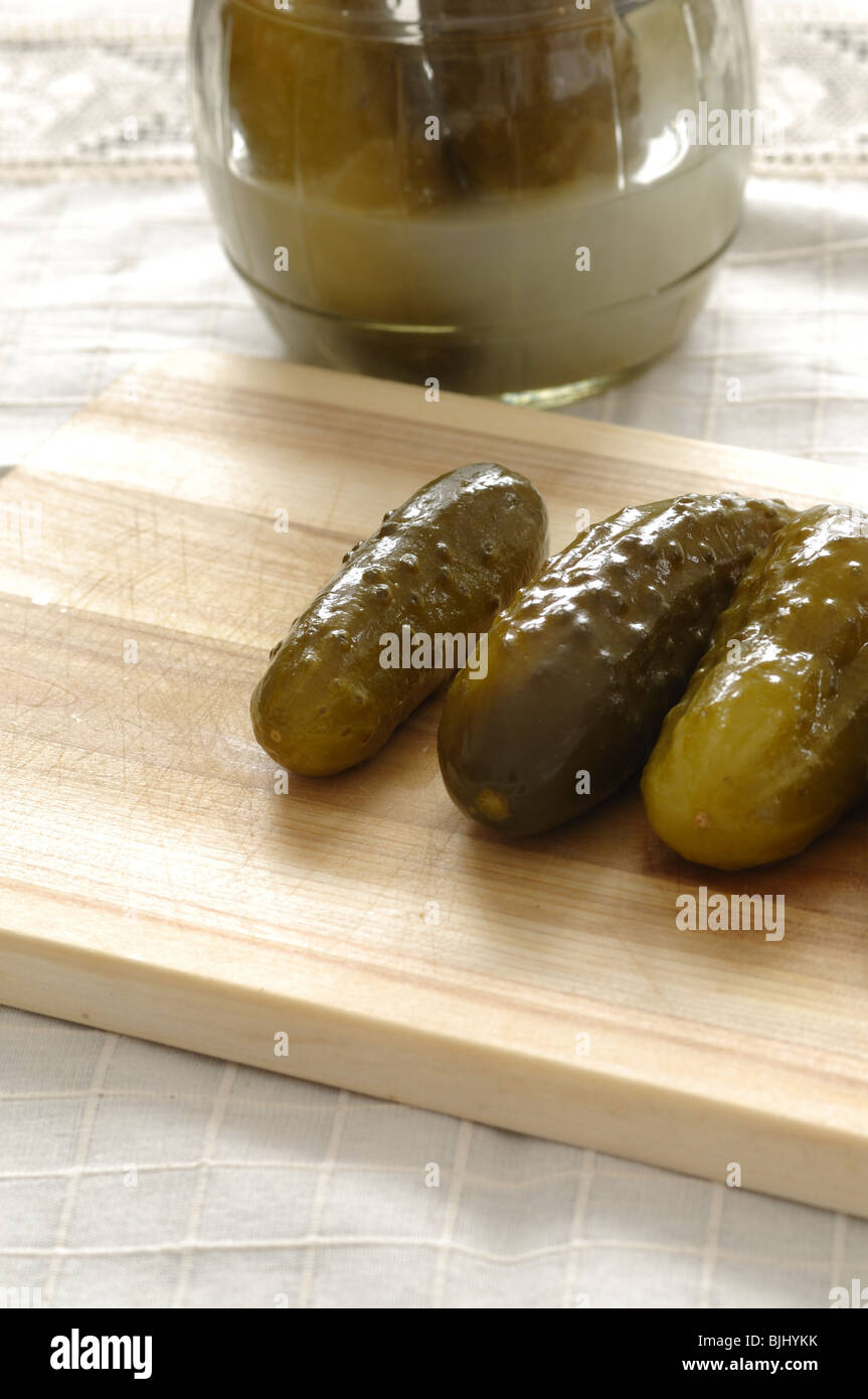 Closeup of homemade pickled cucumbers - Stock Image