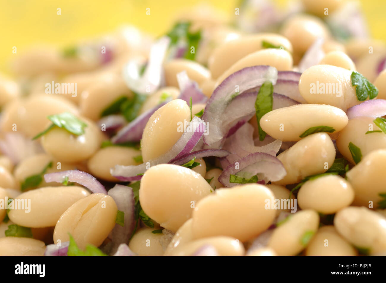 Traditional bulgarian salad made of beans, onion, parsley, salt, vinegar and sunflower oil - Stock Image