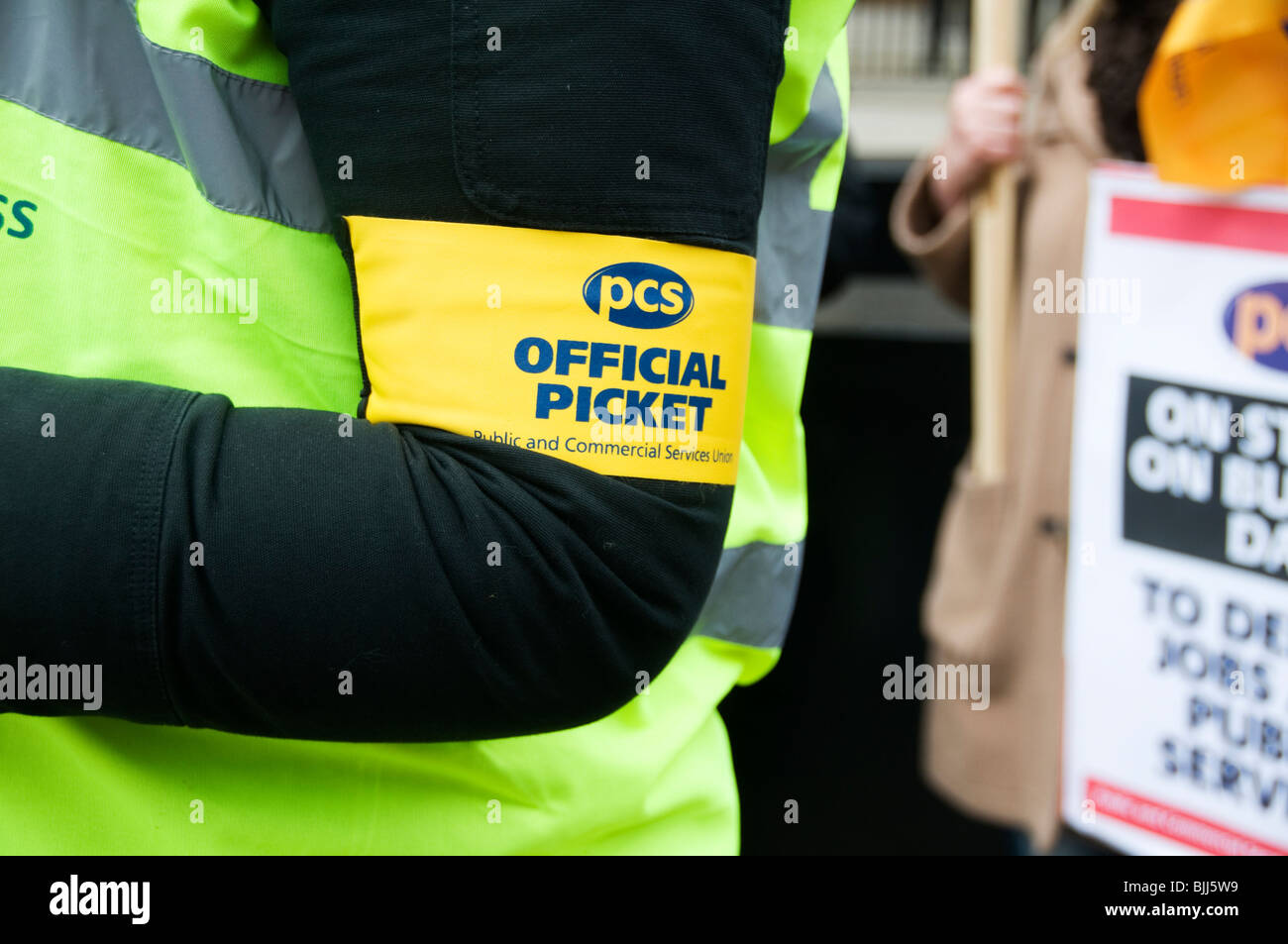 Demonstration by PCS trade unionists (Public and commercial services union) taking in a one day strike. - Stock Image