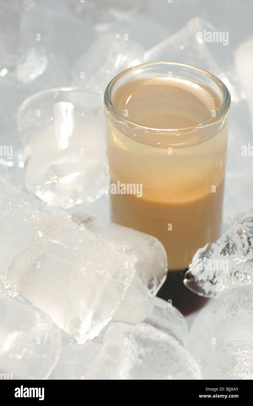 B52 cocktail served in ice with Kahlua, Baileys, Cointreau Stock Photo