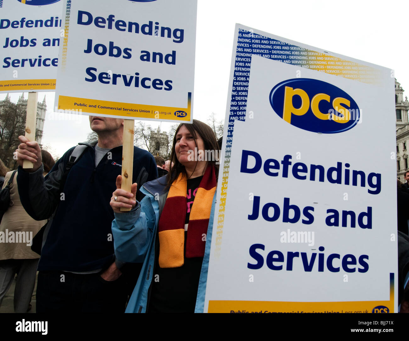 Demonstration by PCS trade unionists (Public and commercial services union) taking part in a one day strike. - Stock Image