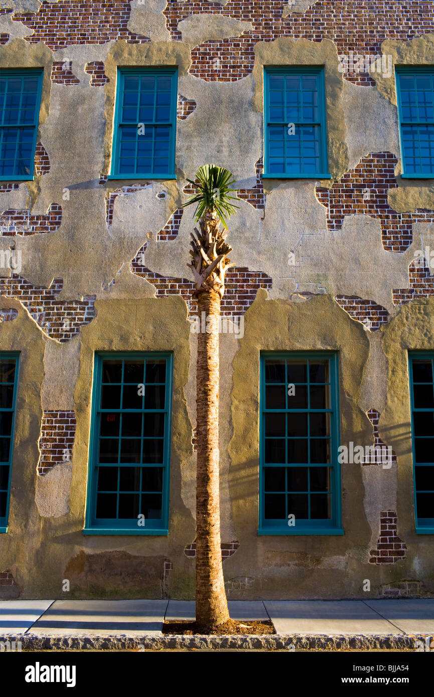Wall of Dock Street Theater, Charleston, South Carolina - Stock Image