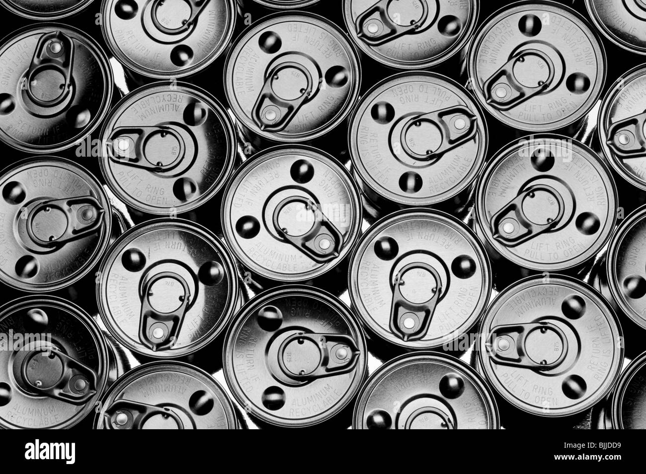 abstract top view of a number of tin cans - Stock Image