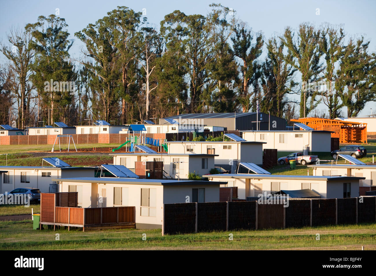 Residents still in temporary housing after Black Saturday catastrophic bush fires in Kinglake, Victoria, Australia. - Stock Image