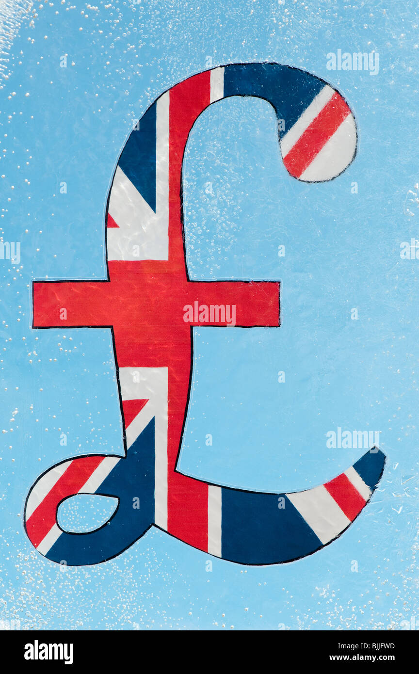 Union jack pound sign encased in ice with blue background. Freeze on spending / Frozen assets concept - Stock Image