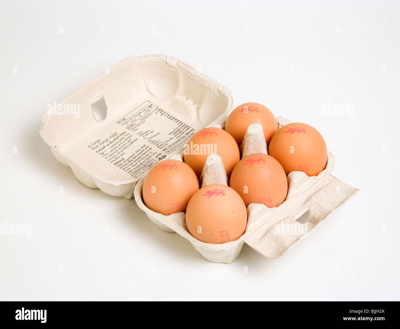 Food, Uncooked, Eggs, Box of six free range eggs with The Lion mark which denotes eggs produced to a stringent Code - Stock Image