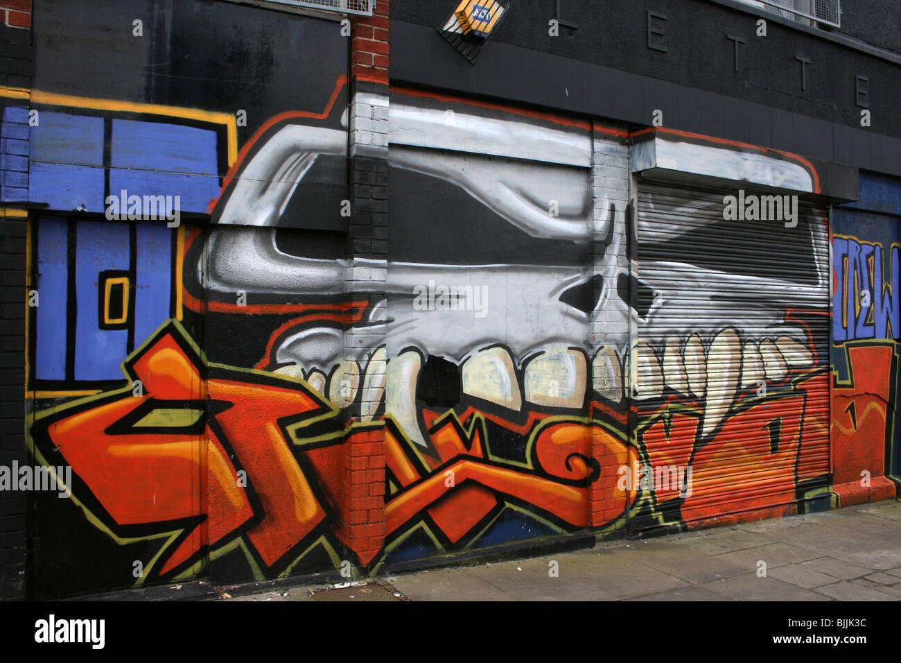 Skull Graffiti By Tct Liverpool Merseyside Uk Stock Image