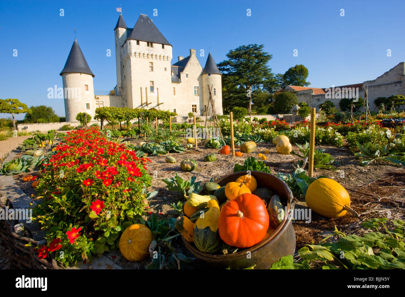 Rivau Castle and gardens, Loire Valley, France, UNESCO World Heritage Site, built 15th Century - Stock Image